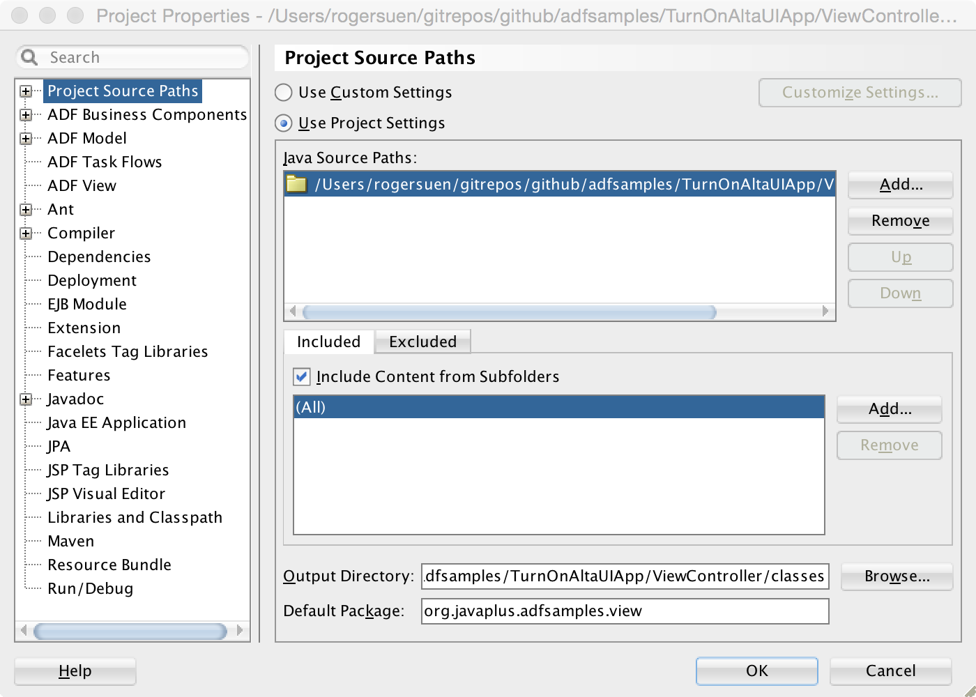 Image: Project Source Paths