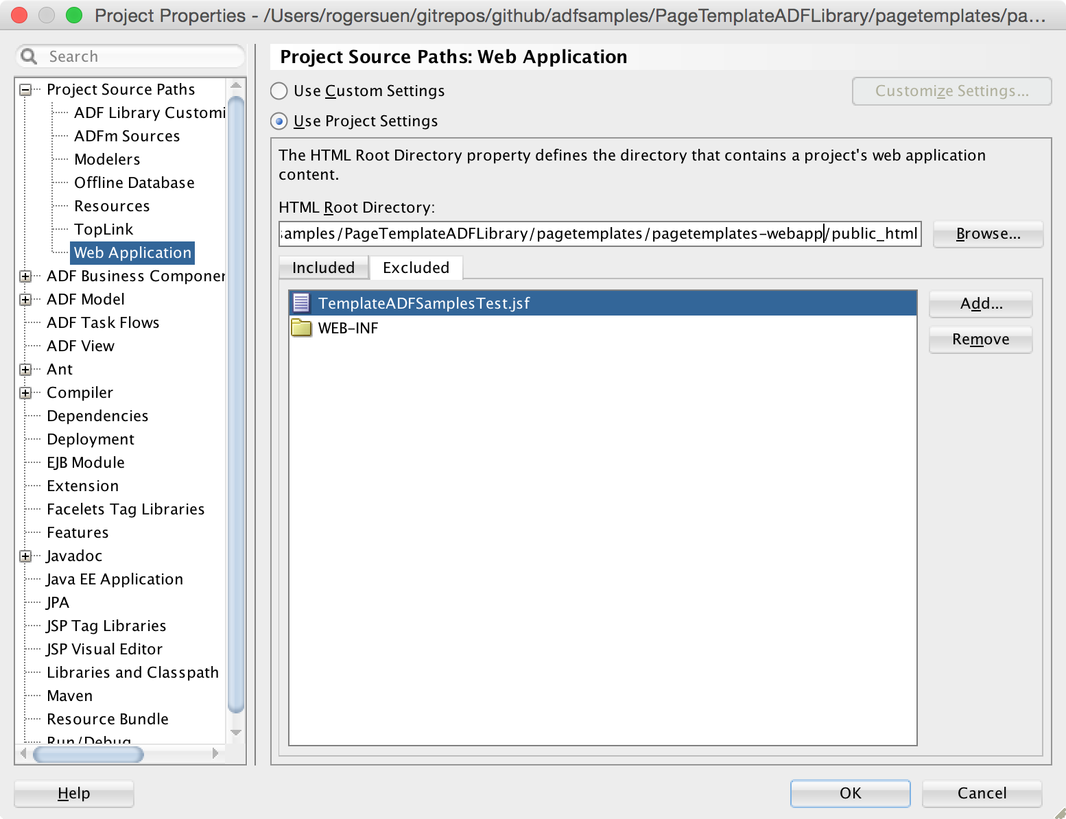 Image: Project Properties / Project Source Paths: Web Application