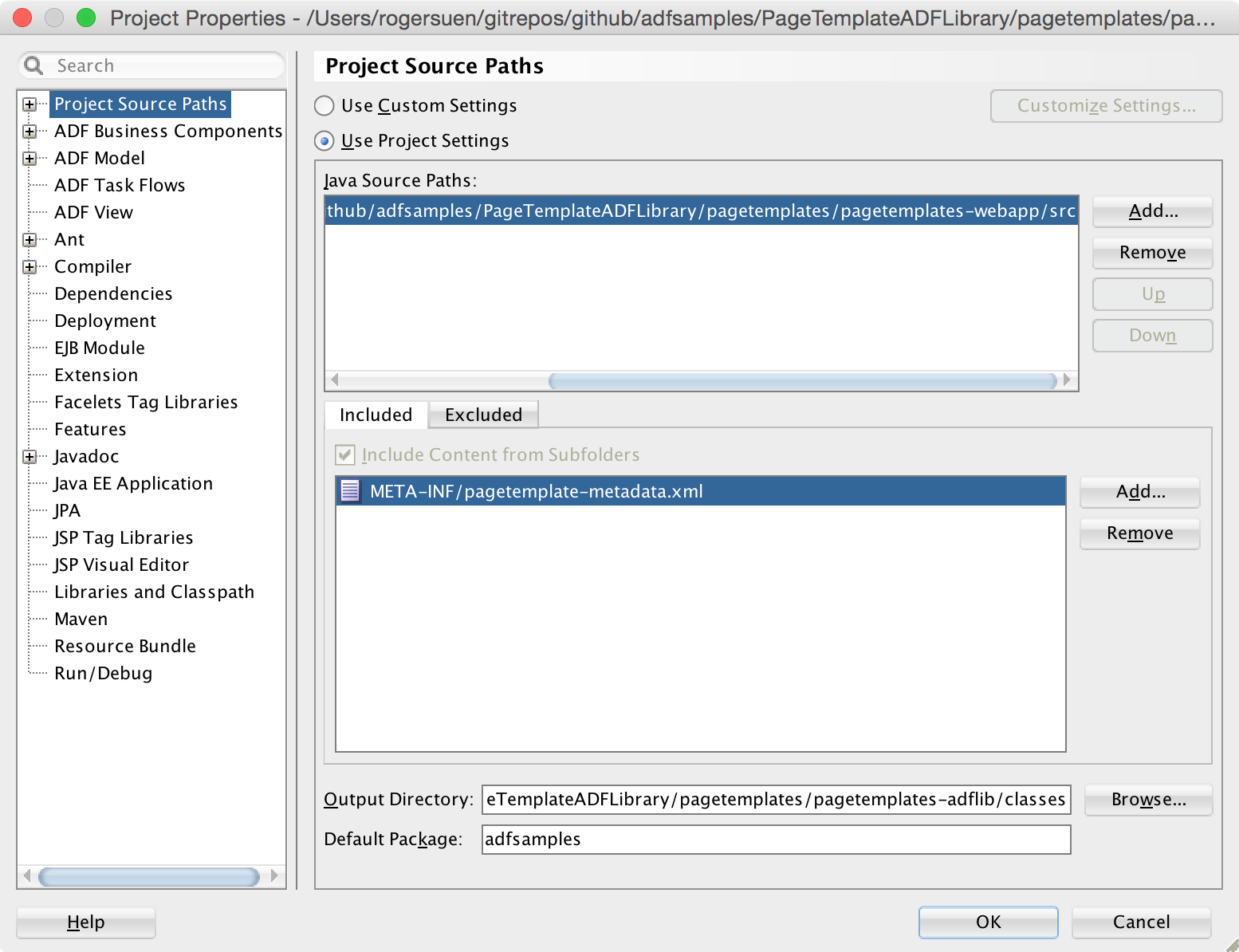 Image: Project Properties / Project Source Paths